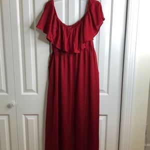 Shein size 3X red off the shoulder maxi dress EUC